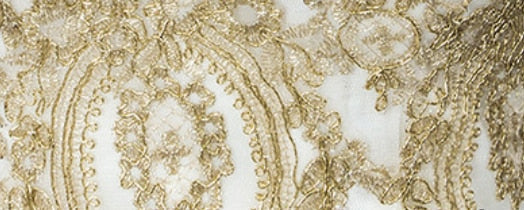 Vintage Long Sleeve Wedding Dress Gold Lace Embroidery Bride Wedding Gown - TulleLux Bridal Crowns &  Accessories