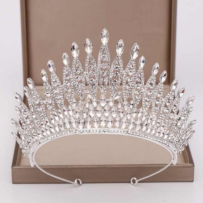 Trendy Silver or Red Rhinestone Crystal Tall Crown Bridal Wedding Tiara  Beauty Pageant