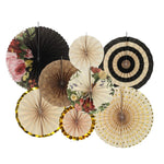 8pcs/set  Vintage Wheel Tissue Paper Hanging Fans Flower Craft For Birthday Party Wedding Baby Shower Decoration