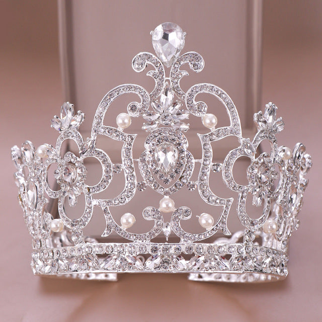 Silver color Big Wedding Crown Pearl Crystal Diadem Queen tiara - TulleLux Bridal Crowns &  Accessories