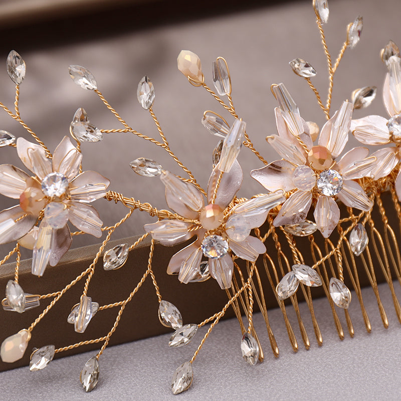 Bridal Hair Comb Gold Flower Crystal Wedding Hair Jewelry
