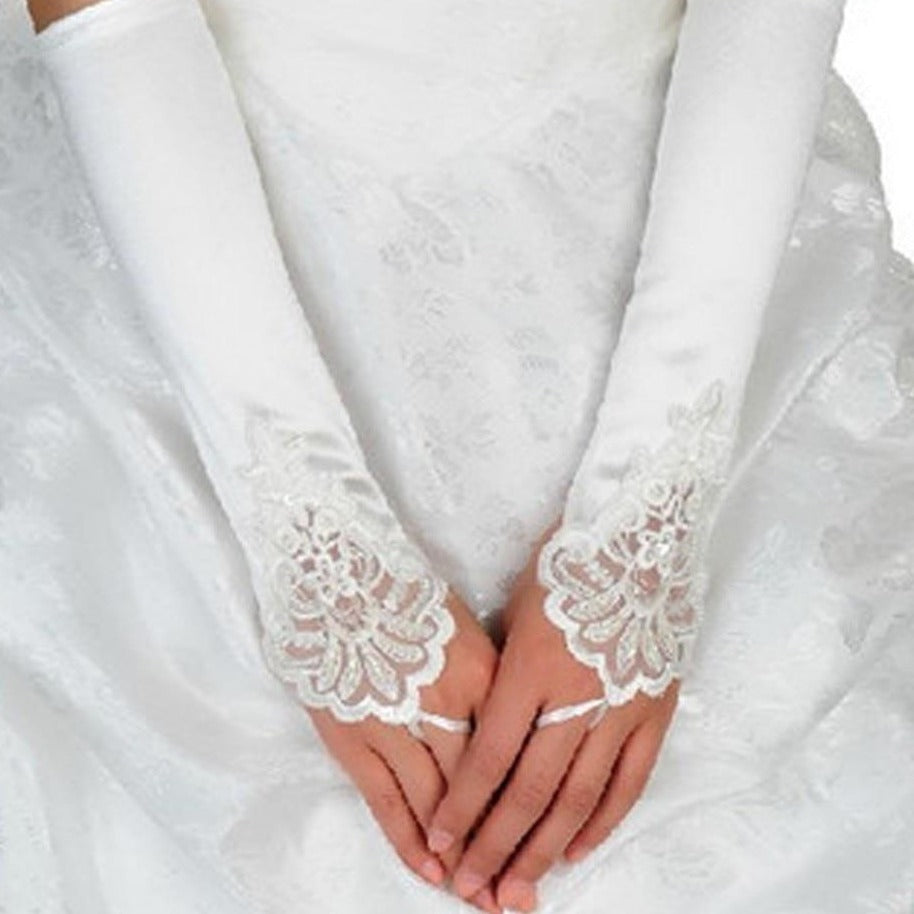 Elbow Length Lace Satin Fingerless Wedding Gloves