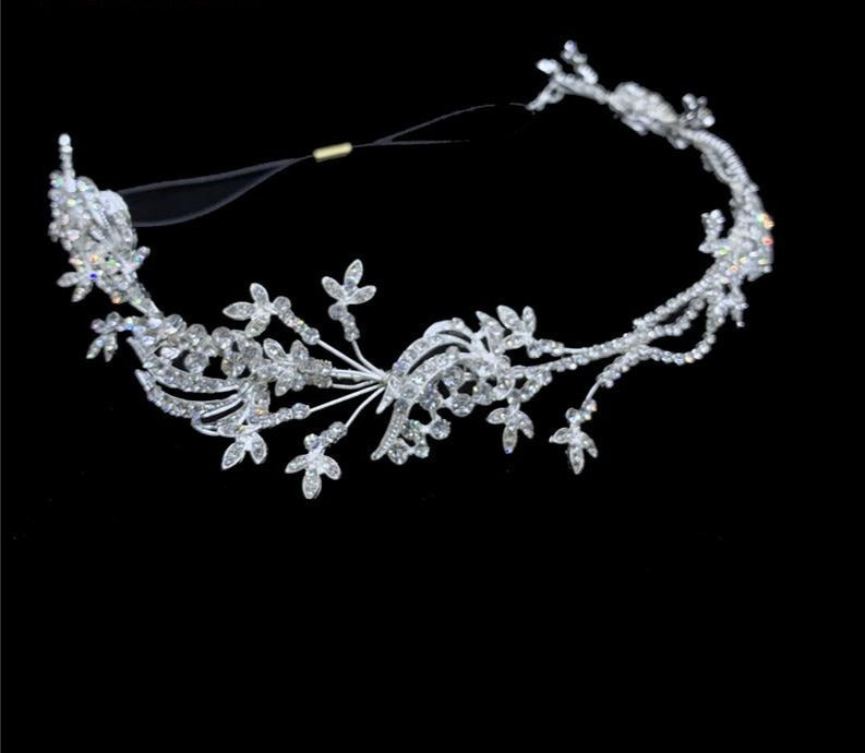 Rhinestone Crystal Flower Headband Wedding Hair Band