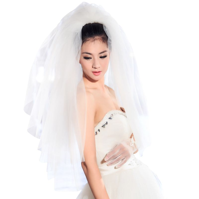 Tulle Wedding Dress Fluffy White Multi Layers Bridal Hair Veil