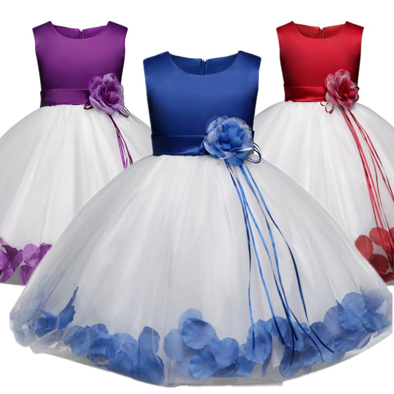 0-12 Age Flower Girl Tutu Dresses For Weddings Party