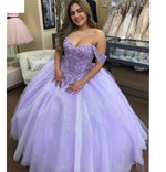 Lilac Lace Beaded Quinceañera Dress Ball Gown Off the Shoulder Party Sweet 16 Dress