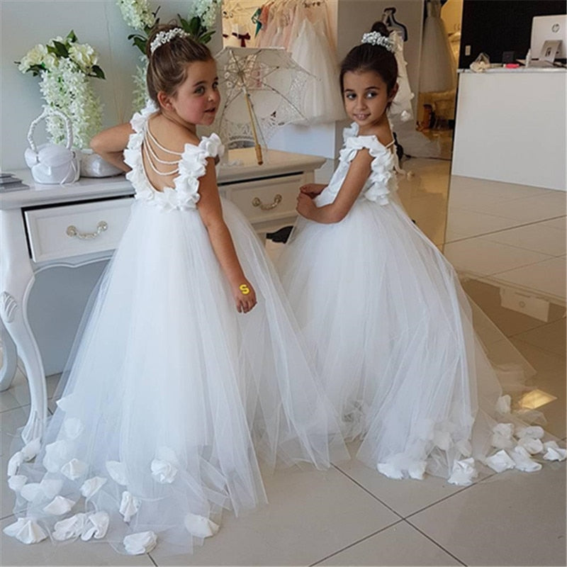 White Lace Tulle Flower Girl Pageant First Communion Dress