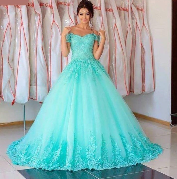 Turquoise Quinceañera Dress Tulle Off The Shoulder Appliques Lace Ball Gown