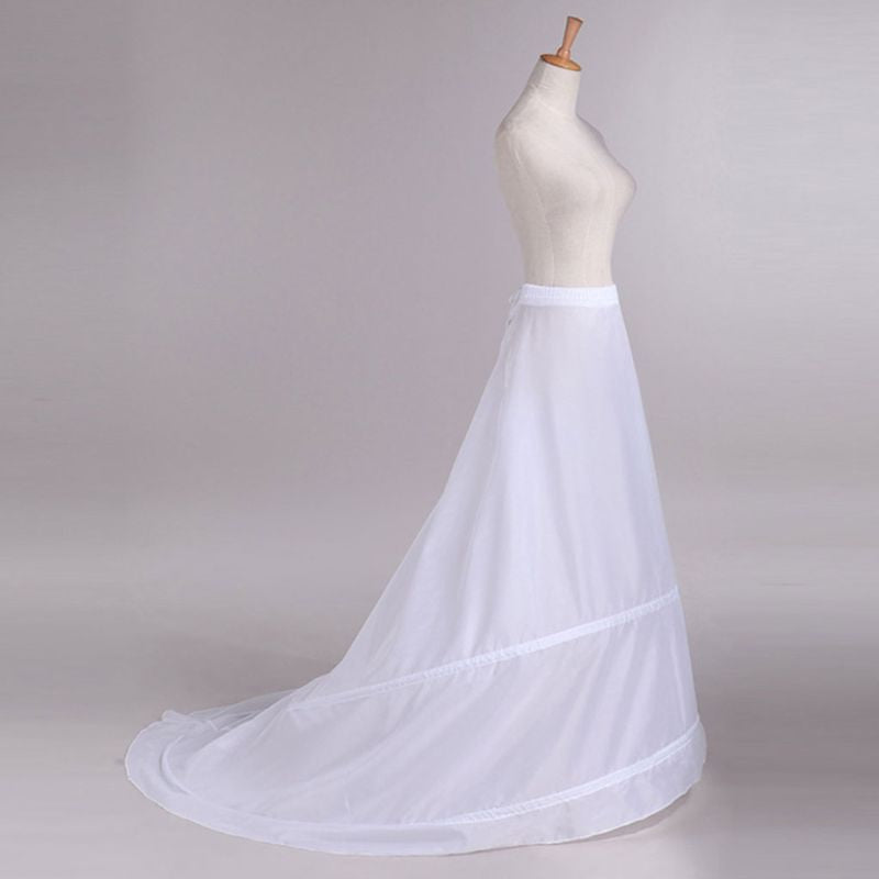 Wedding Dress Trailing Skirt Petticoat  2-Hoop Elastic Drawstring Waist