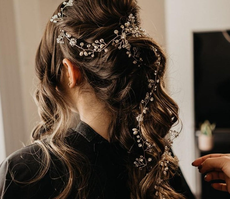 Handmade Hair Vine Sparkling Crystal Floral Pearls Wedding Hair Jewelry