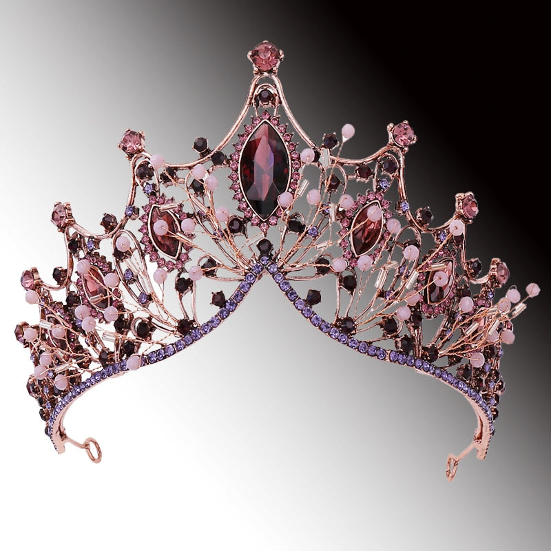 Purple Crystal Royal Queen Tiaras and Crowns  Bridal
