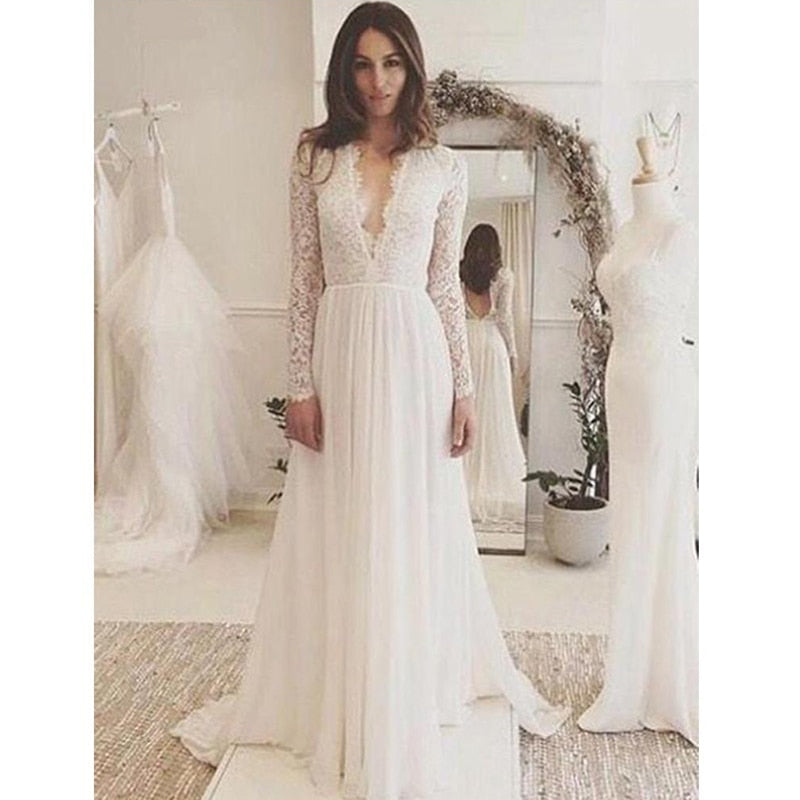 Boho  Long Sleeve Lace Appliques Chiffon Wedding Gown