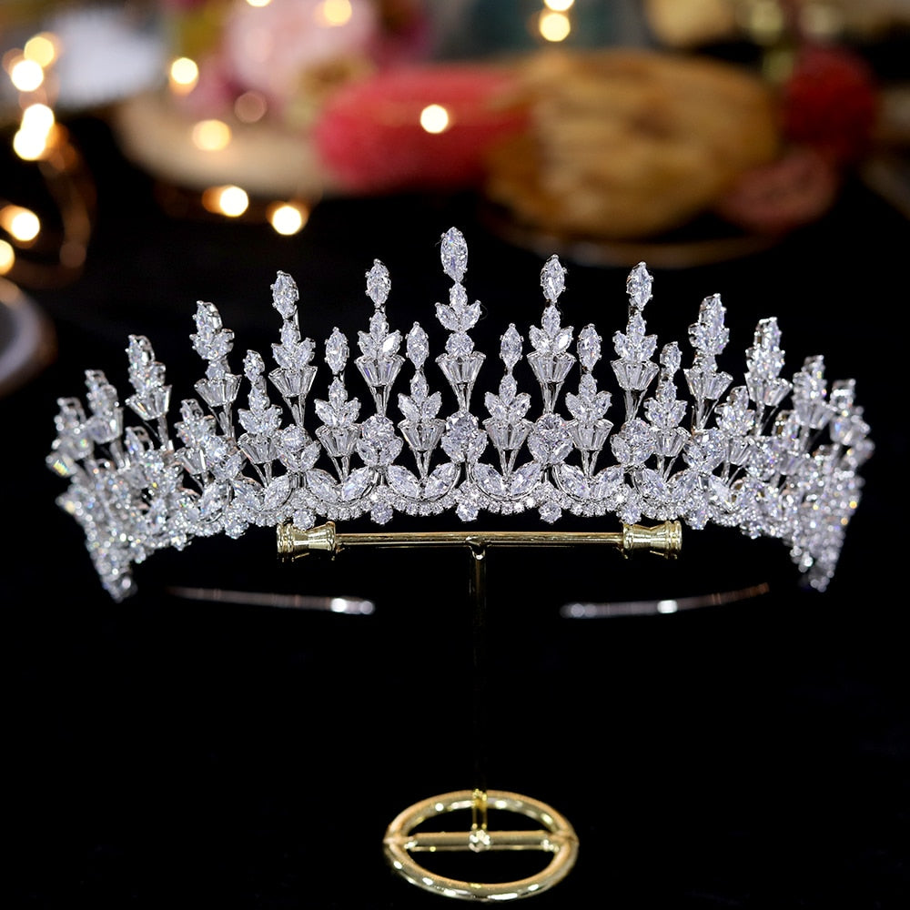 Cubic Zirconia Pageant/Wedding Tiara Accessory - TulleLux Bridal Crowns &  Accessories