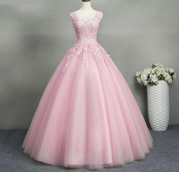 Sweetheart Lace Top  Quinceañera Prom Dress with Pearls Plus Size 2-26W