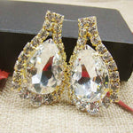 Pageant Brilliant Rhinestone Earrings Colorful  Masquarade DecorativeJewelry