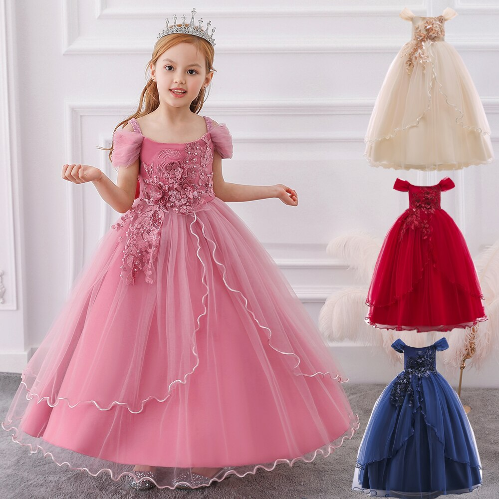 Summer Girls Elegant Flower Princess Long Gown Party Dress