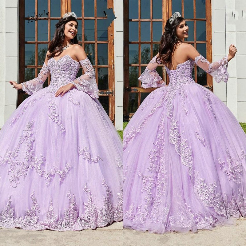Tulle Lavender Off The Shoulder Quinceañera Sweeet 16 Ball Gown