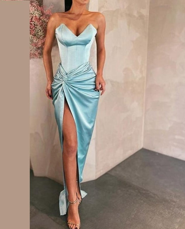 Sweetheart Evening Dress Long Mermaid Side Split  Party Night Dress