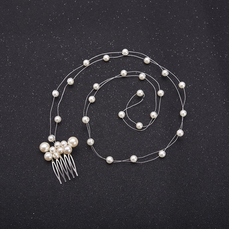 Pearl Headband Hair vine with Hair Comb Bridal  Head Jewelry