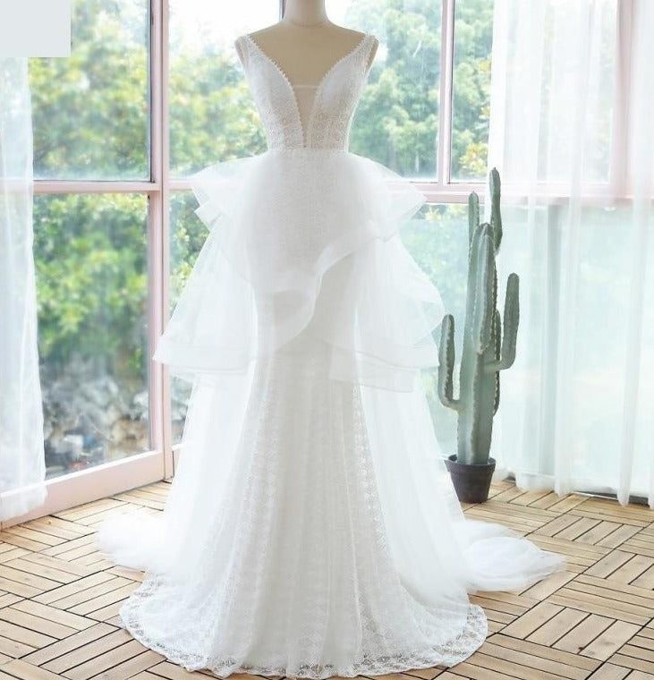 Romantic Boho Mermaid Lace Bridal Gown - TulleLux Bridal Crowns &  Accessories