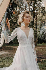 Boho Long Sleeve Wedding Dress Lace V Neck Beach Sexy Backless Tulle Elegant Wedding Gowns - TulleLux Bridal Crowns &  Accessories
