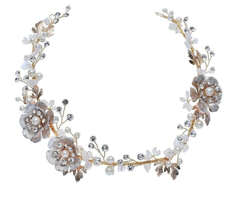 Floral Pearl Bridal Hair Vine Accessories Headband