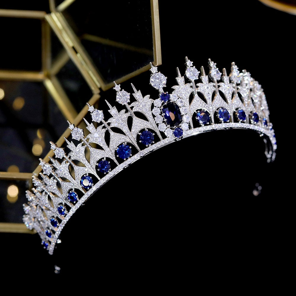 Blue Zirconia Bridal  Hair Crown and Tiaras Wedding Accessories