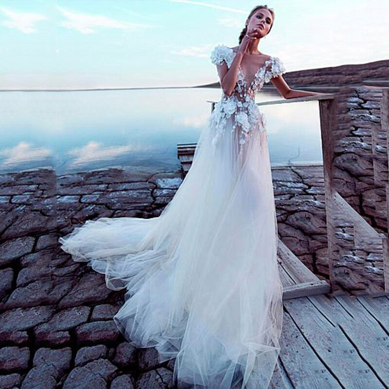 Tulle Boho Wedding Dress Sexy Backless Princess Bridal Dress Beach Wedding Gown