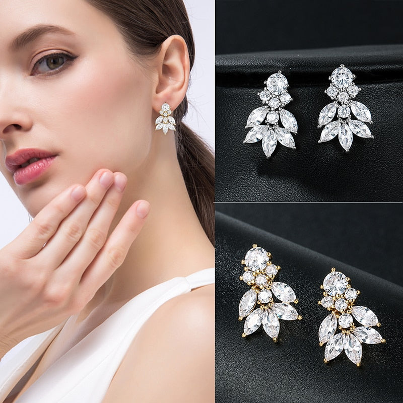 Quality Marquise Cubic Zirconia Crystal Drop Earrings - TulleLux Bridal Crowns &  Accessories