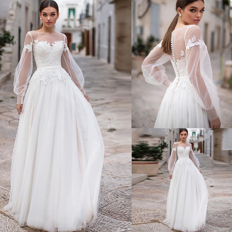 Tulle Lace Boho Wedding Dress Long Puff Lace Sleeves Button Back Vestido De Noiva Bridal Gown