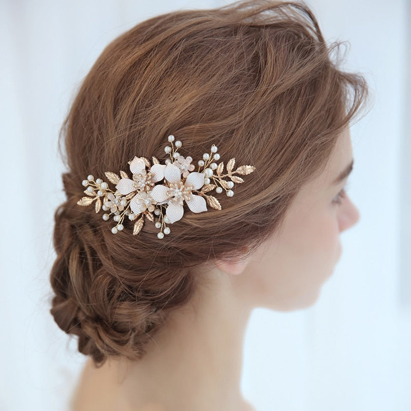 Wedding Hair Accessories Hair Comb Pearl Bridal Flower