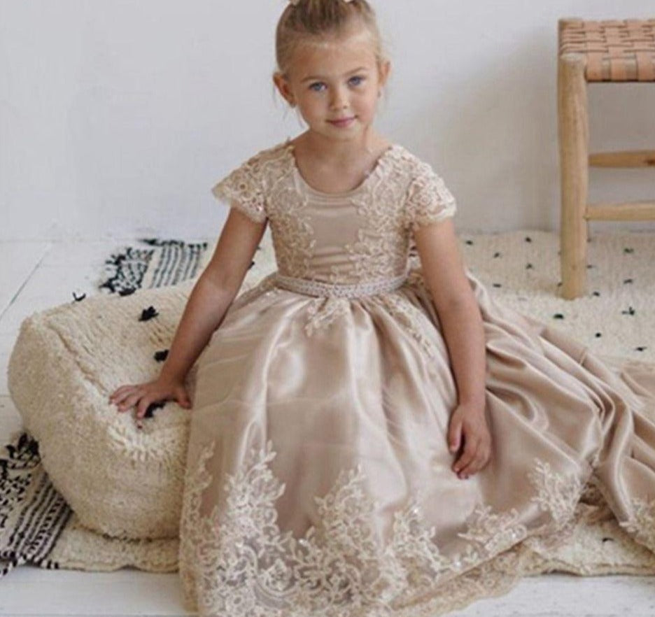 Champagne Flower Girl Dress For Weddings  First Communion Dress