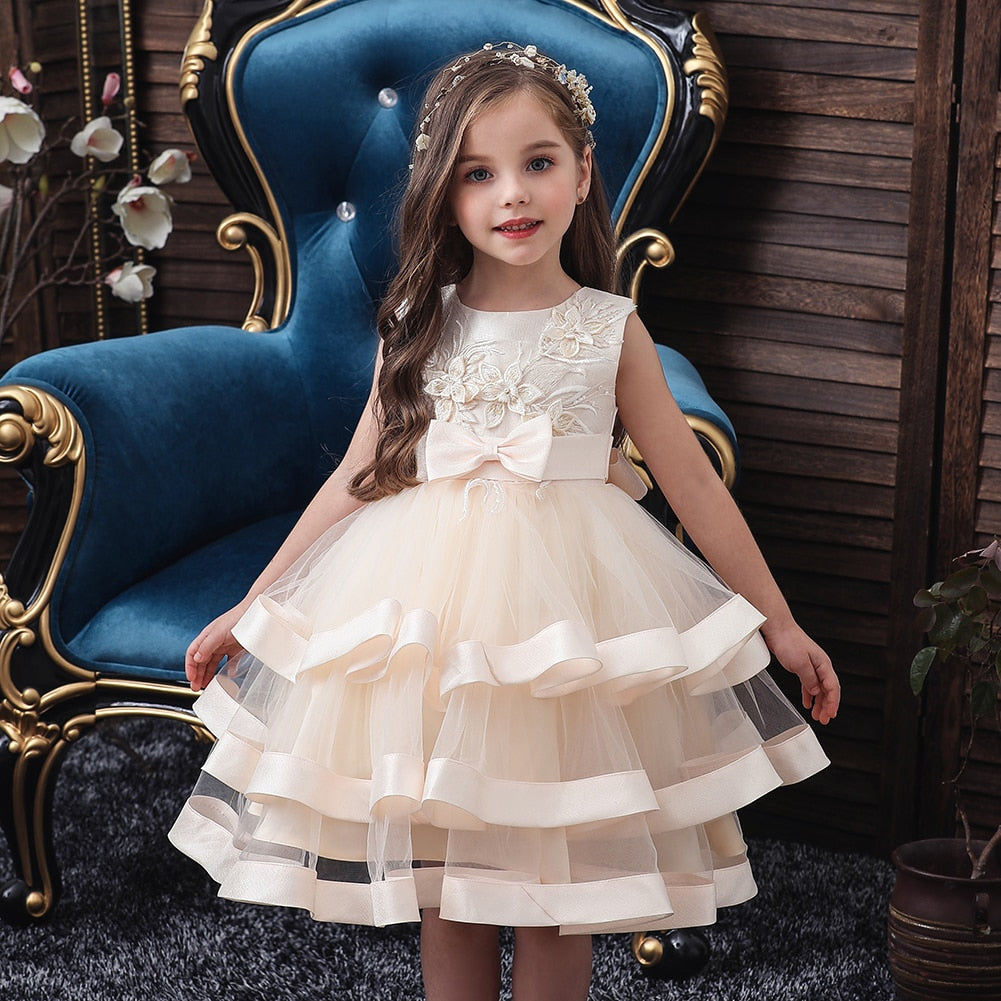 Elegant Flower Girls Princess Tutu Dress For Birthday Wedding Performance Party