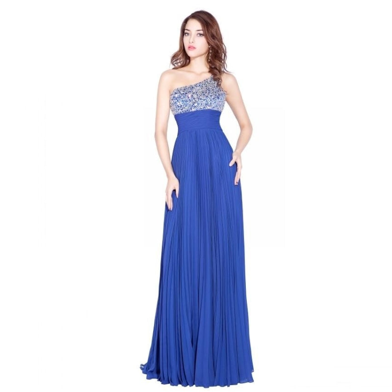 Sexy One Shoulder Royal Blue Prom Dress Chiffon Crystals Beaded Backless Floor Length Party Gown