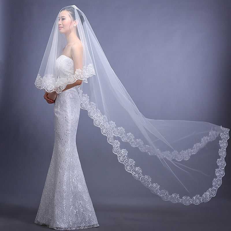3 Meters 5 Meters Long Cathedral Elegant Bridal Veil Velos de Novia - TulleLux Bridal Crowns &  Accessories