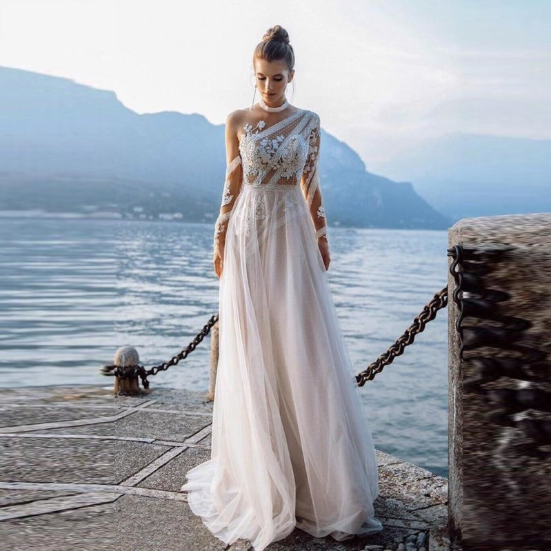 Long Illusion Lace Beach Boho Wedding Gown Bridal Dress - TulleLux Bridal Crowns &  Accessories
