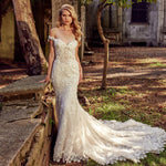 Appliques Lace Flower Crystal 2 Piece Mermaid Wedding Dress With Detachable Train