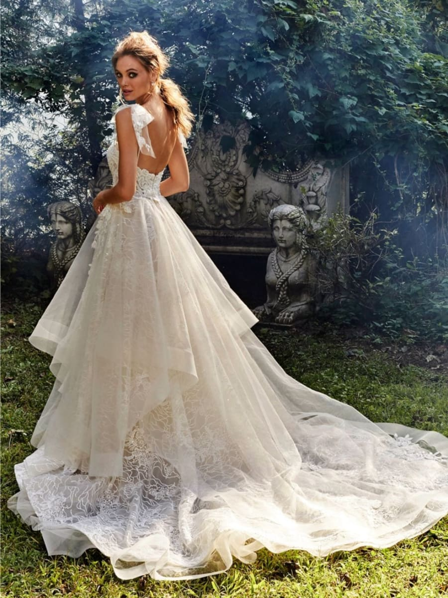 Lace A-line Wedding Dress Backless Illusion Bridal Gown