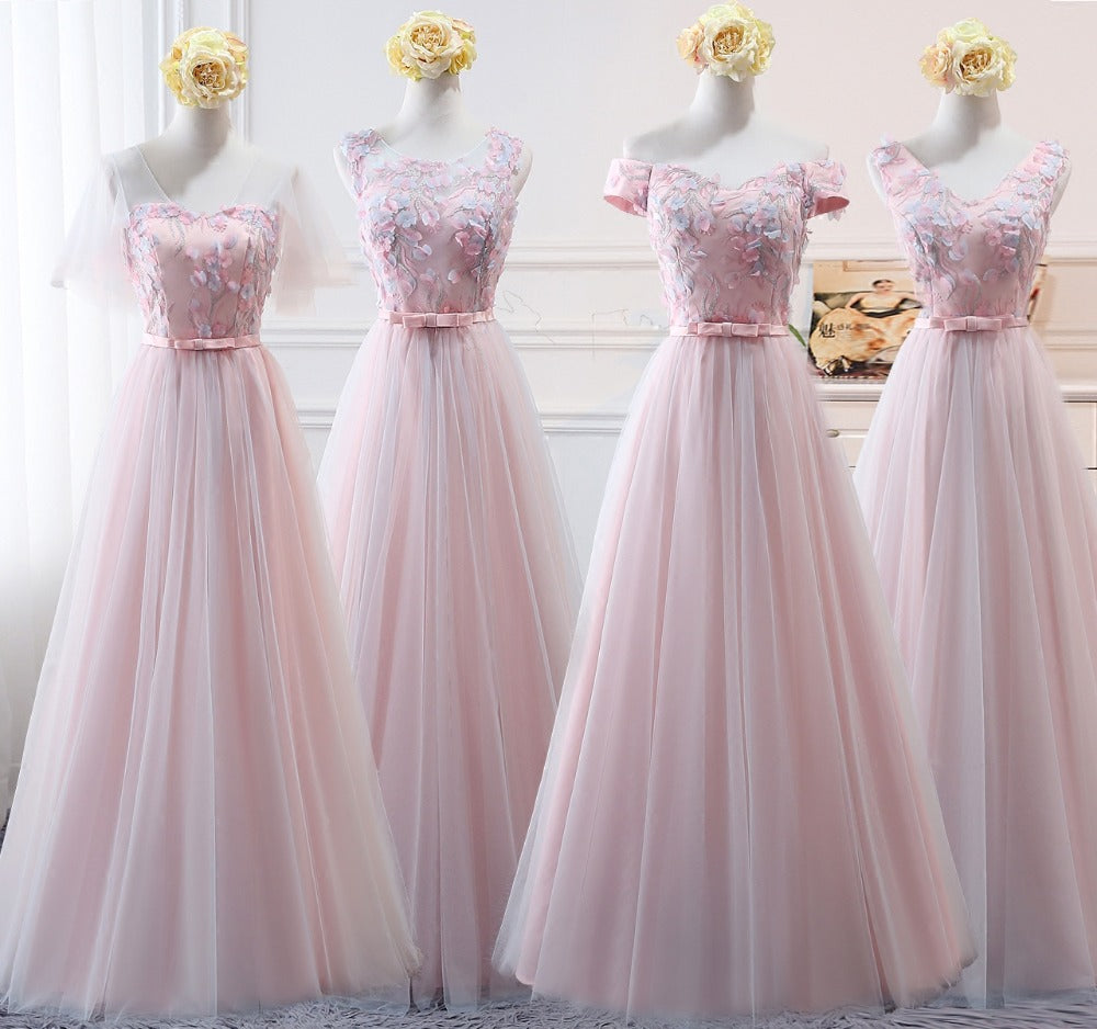Blue or Pink Organza Bridesmaid or Prom Dresses