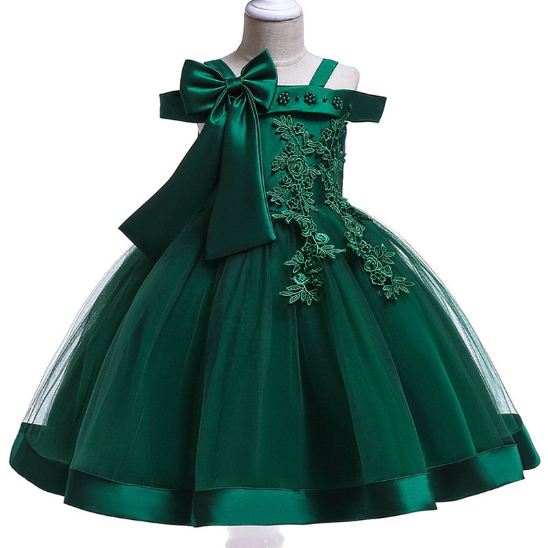 3-10 Years Girls Appliques Flower Girl Party Dresses With Big Bow