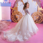 Lace Flower Girls Dress For Wedding First Communion Pageant Princess Ball Gown