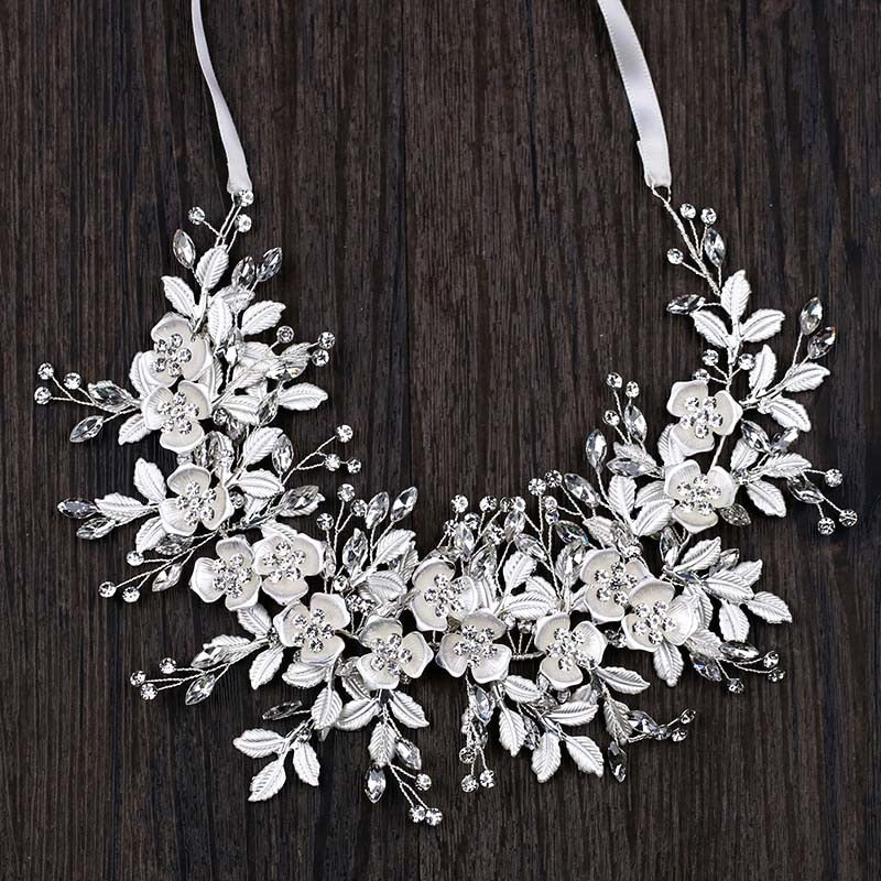 White Beaded Rhinestone Leaf Cluster Headband Hairband Wedding Hair Vine