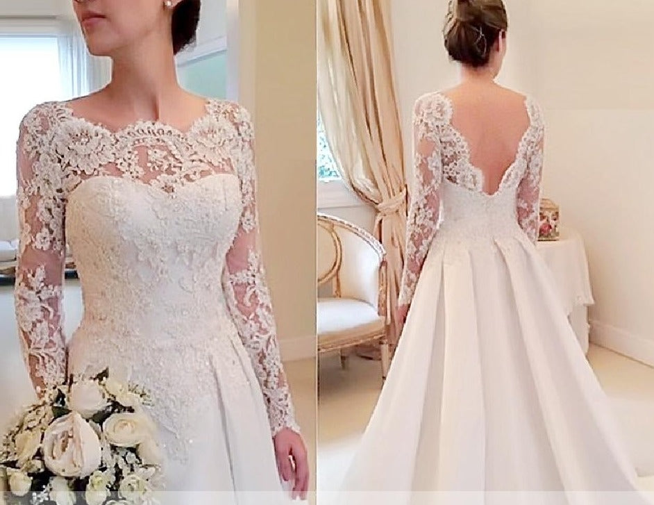 Elegant Backless  Vintage Lace Satin Long Sleeve Bridal Wedding Gown