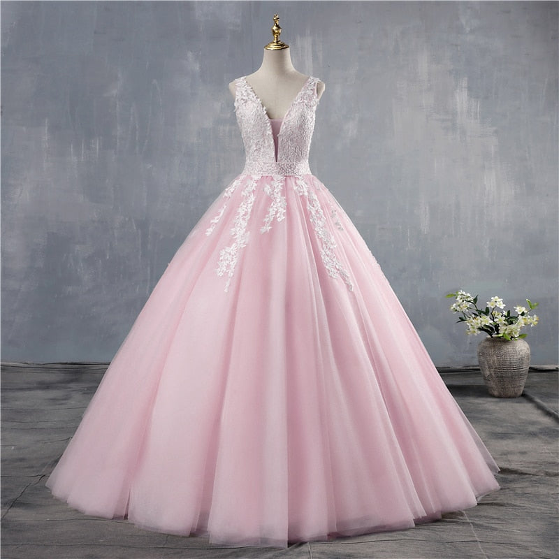 Pretty Lace Bodice Quinceanera Dress V-Neck Beaded Open Back Ball Gown  Plus Sizes