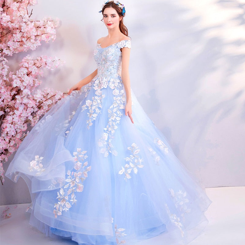 Sleeveless Lace Appliques Quinceañera Prom Gown Trailing Embroidery Vestido de noche Train