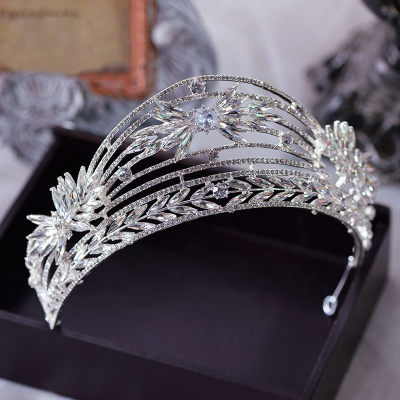 Princess Baroque Wedding Tiara Crown Bridal Hair Accessory