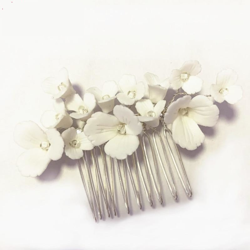Handmade Ceramic Flower Hair Comb Wedding Bridal Hair Accessories