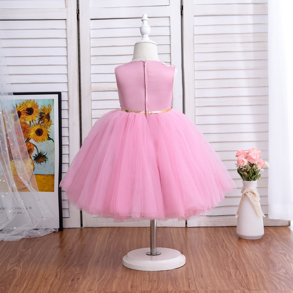 8-layer Tulle Girl's Formal Knee Length Dress for 2-5 Year Old