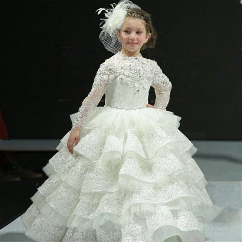 White Princess Girls Pageant Gown Long Sleeves Tiered Flower Girl Dress