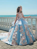 Luxury Blue Lace Girls Ball Gown Jewel Neck Appliques Flower Girls Pageant  Birthday Party Dress
